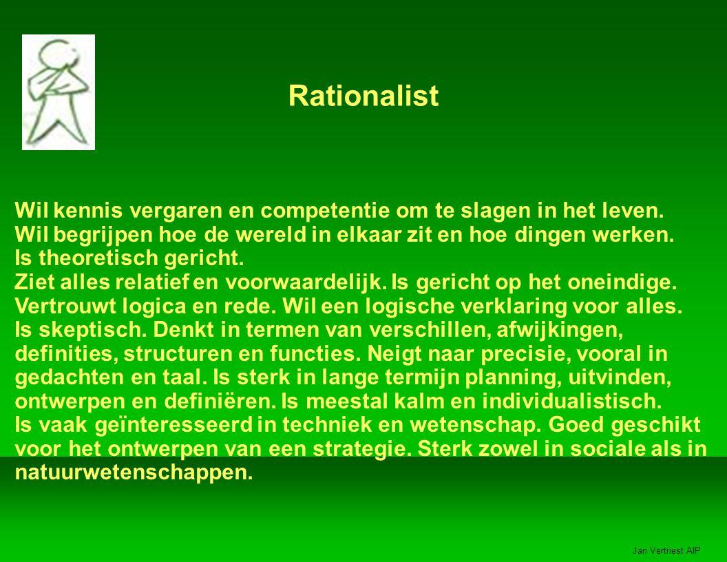 Jan Vertriest AIP Rationalist Wil kennis vergaren en competentie om te slagen in het leven.