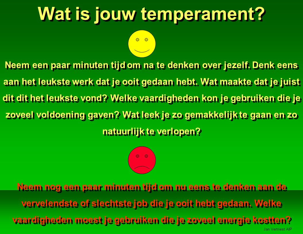 Jan Vertriest AIP Wat is jouw temperament.Neem een paar minuten tijd om na te denken over jezelf.