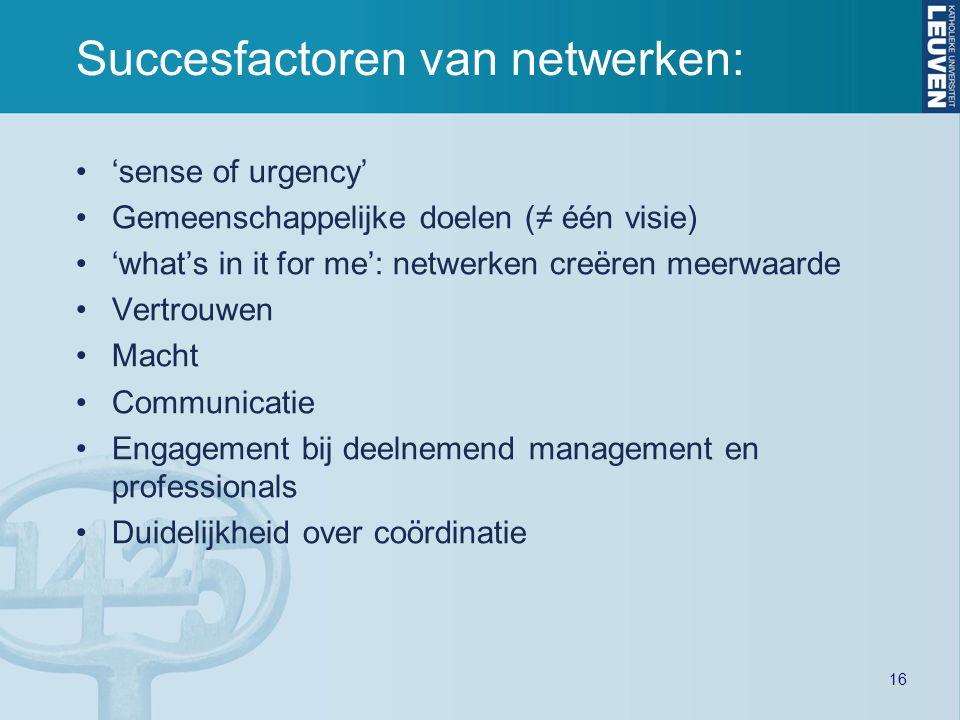 'sense of urgency' Gemeenschappelijke doelen (≠ één visie) 'what's in it for me': netwerken creëren meerwaarde Vertrouwen Macht Communicatie Engagemen