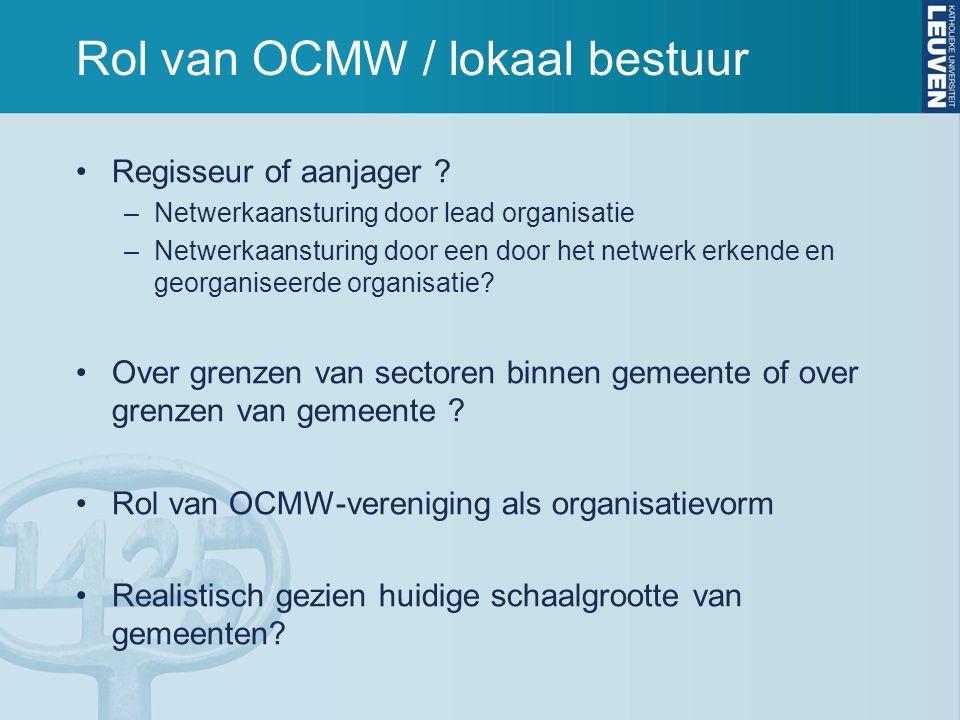 Rol van OCMW / lokaal bestuur Regisseur of aanjager ? –Netwerkaansturing door lead organisatie –Netwerkaansturing door een door het netwerk erkende en