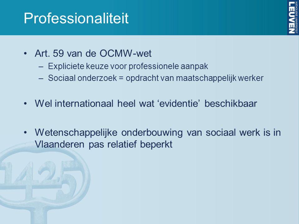 Professionaliteit Art. 59 van de OCMW-wet –Expliciete keuze voor professionele aanpak –Sociaal onderzoek = opdracht van maatschappelijk werker Wel int