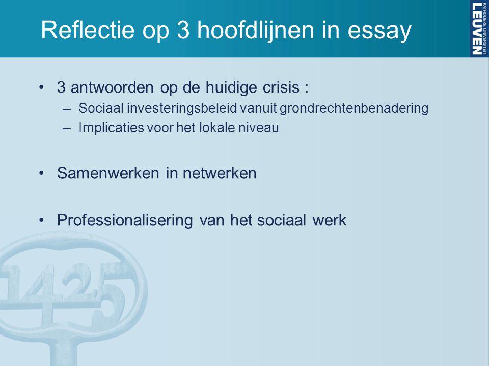 Reflectie op 3 hoofdlijnen in essay 3 antwoorden op de huidige crisis : –Sociaal investeringsbeleid vanuit grondrechtenbenadering –Implicaties voor he