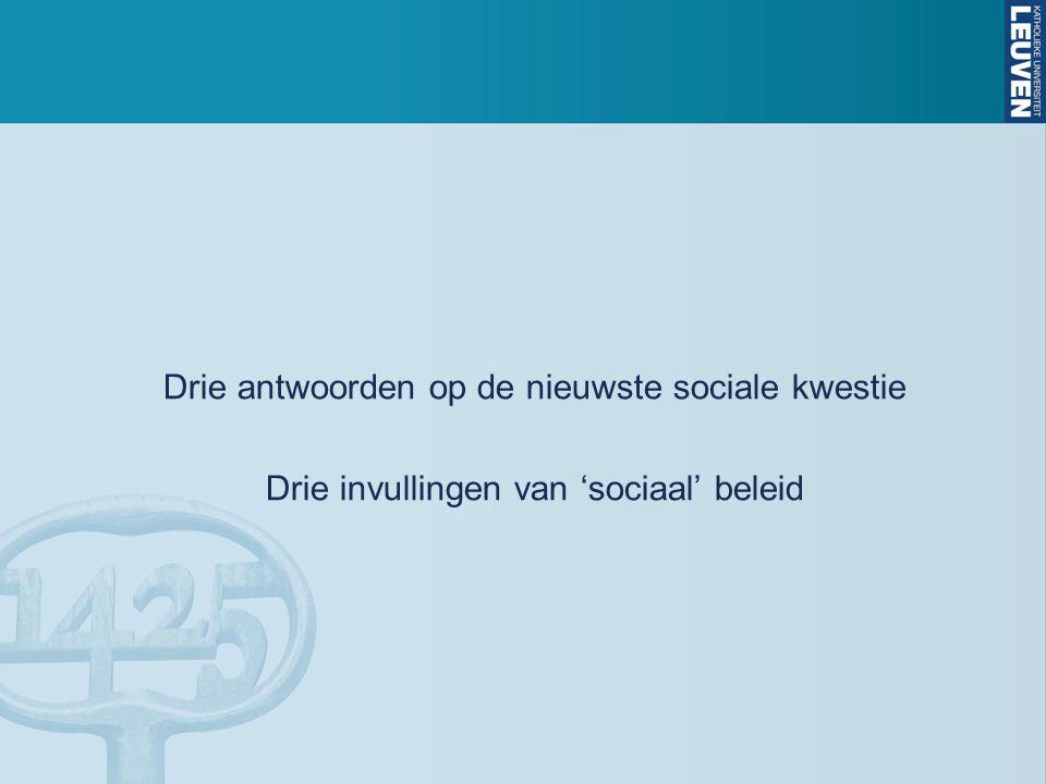 Drie antwoorden op de nieuwste sociale kwestie Drie invullingen van 'sociaal' beleid