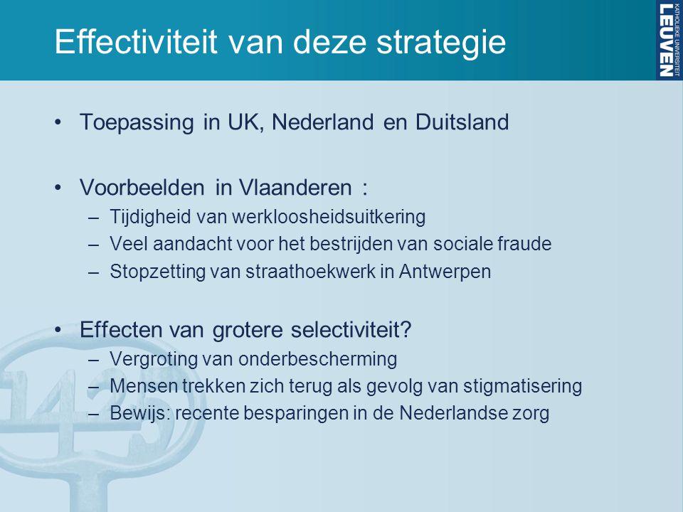 Effectiviteit van deze strategie Toepassing in UK, Nederland en Duitsland Voorbeelden in Vlaanderen : –Tijdigheid van werkloosheidsuitkering –Veel aan