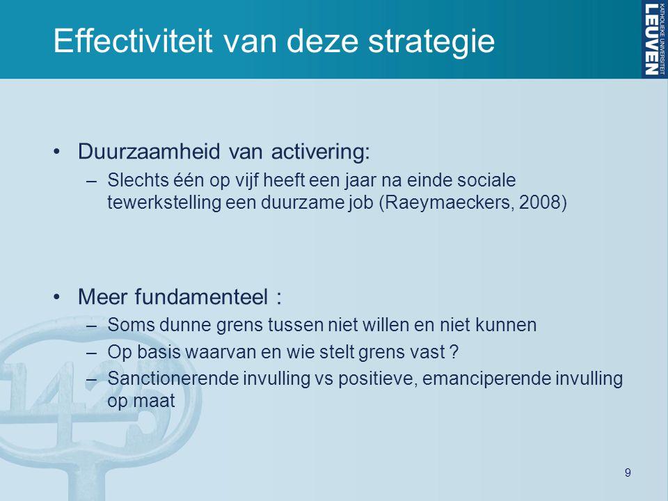 Duurzaamheid van activering: –Slechts één op vijf heeft een jaar na einde sociale tewerkstelling een duurzame job (Raeymaeckers, 2008) Meer fundamente
