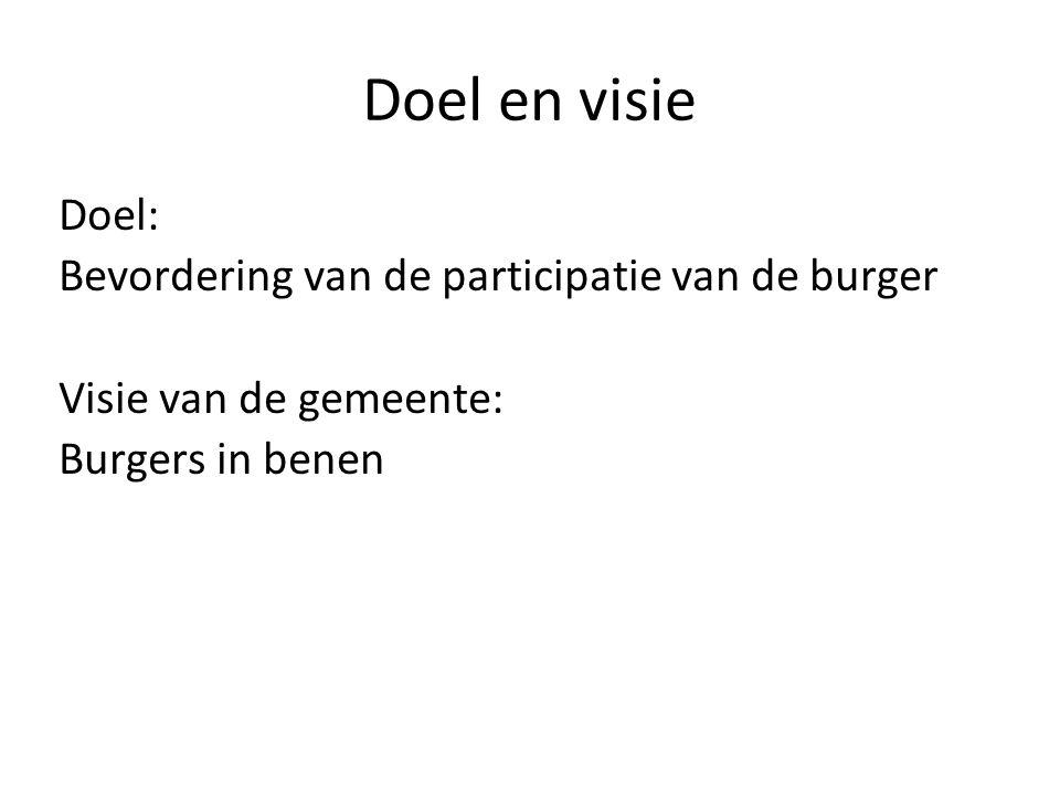 Doel en visie Doel: Bevordering van de participatie van de burger Visie van de gemeente: Burgers in benen