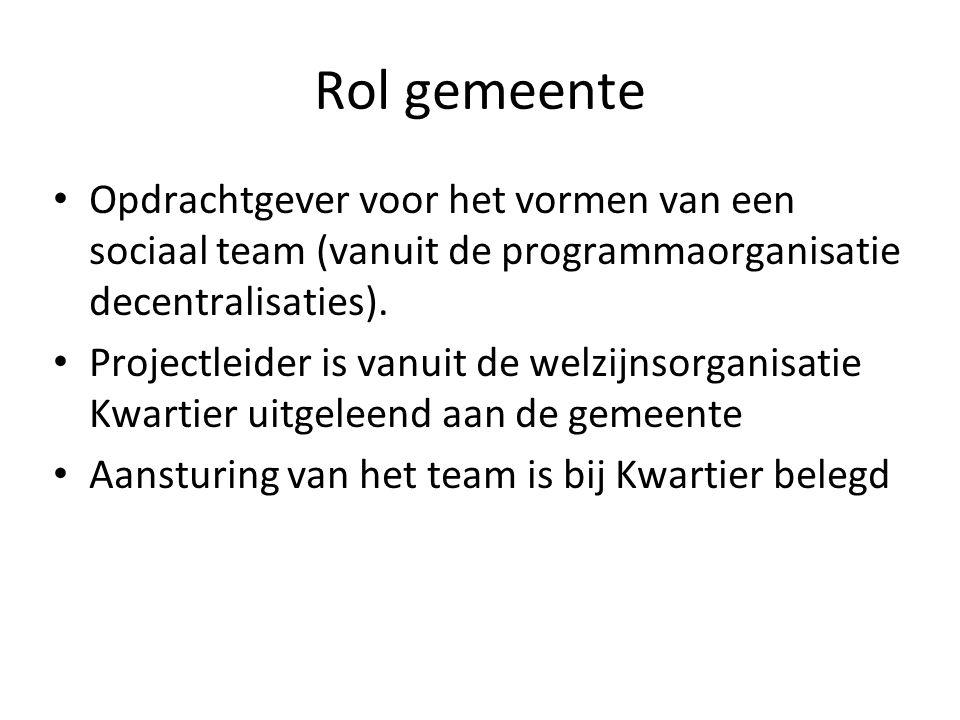 Rol gemeente Opdrachtgever voor het vormen van een sociaal team (vanuit de programmaorganisatie decentralisaties). Projectleider is vanuit de welzijns