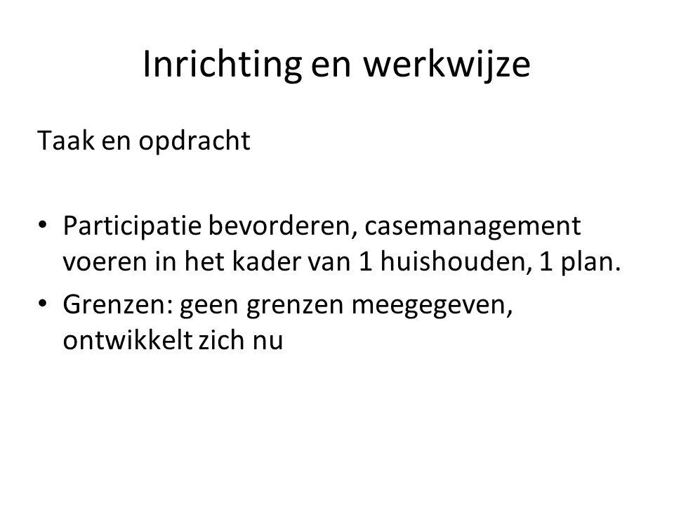 Inrichting en werkwijze Taak en opdracht Participatie bevorderen, casemanagement voeren in het kader van 1 huishouden, 1 plan. Grenzen: geen grenzen m