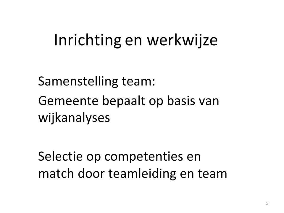 Inrichting en werkwijze Samenstelling team: Gemeente bepaalt op basis van wijkanalyses Selectie op competenties en match door teamleiding en team 5