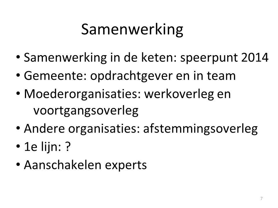 Samenwerking Samenwerking in de keten: speerpunt 2014 Gemeente: opdrachtgever en in team Moederorganisaties: werkoverleg en voortgangsoverleg Andere o