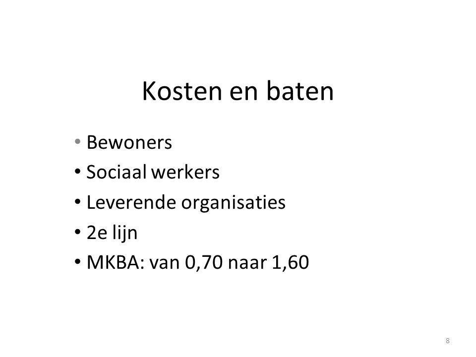 Kosten en baten Bewoners Sociaal werkers Leverende organisaties 2e lijn MKBA: van 0,70 naar 1,60 8