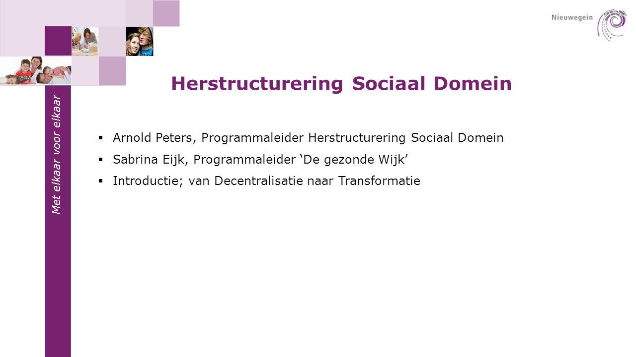 Met elkaar voor elkaar  Arnold Peters, Programmaleider Herstructurering Sociaal Domein  Sabrina Eijk, Programmaleider 'De gezonde Wijk'  Introducti