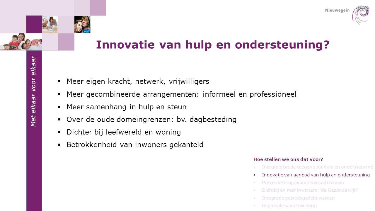 Met elkaar voor elkaar Innovatie van hulp en ondersteuning?  Meer eigen kracht, netwerk, vrijwilligers  Meer gecombineerde arrangementen: informeel