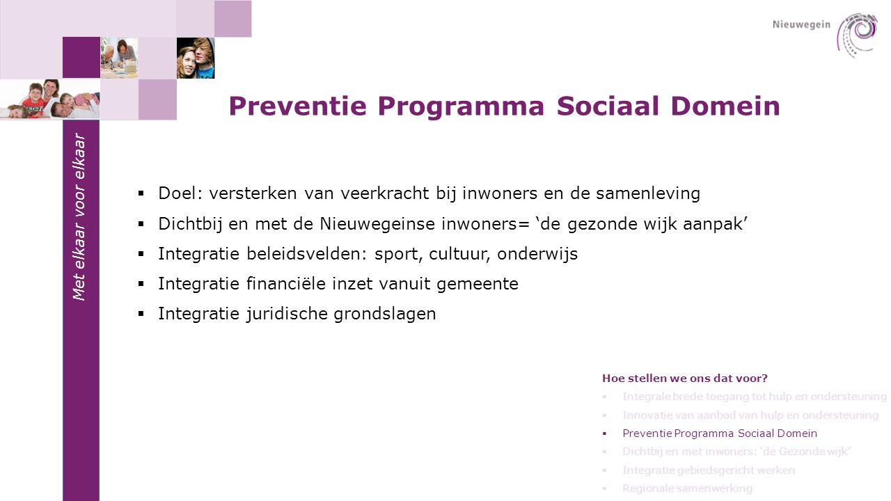 Met elkaar voor elkaar Preventie Programma Sociaal Domein  Doel: versterken van veerkracht bij inwoners en de samenleving  Dichtbij en met de Nieuwe