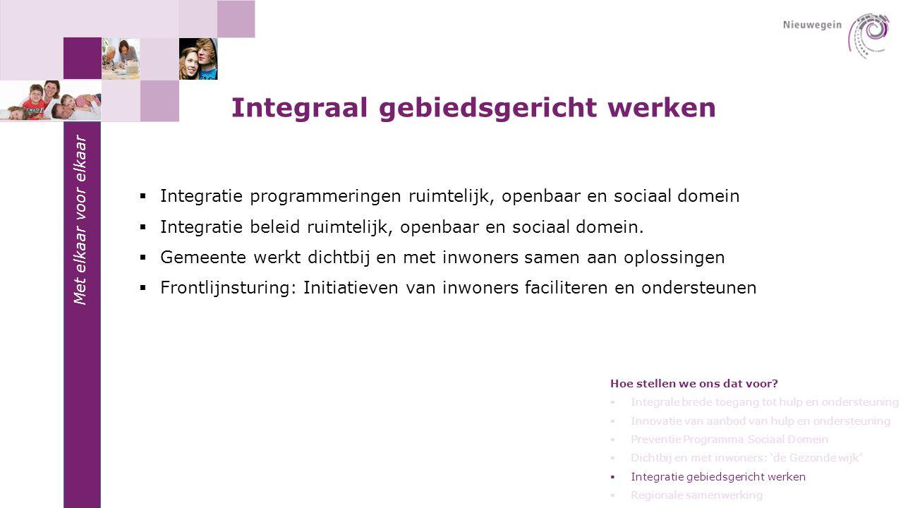 Met elkaar voor elkaar Integraal gebiedsgericht werken  Integratie programmeringen ruimtelijk, openbaar en sociaal domein  Integratie beleid ruimtel