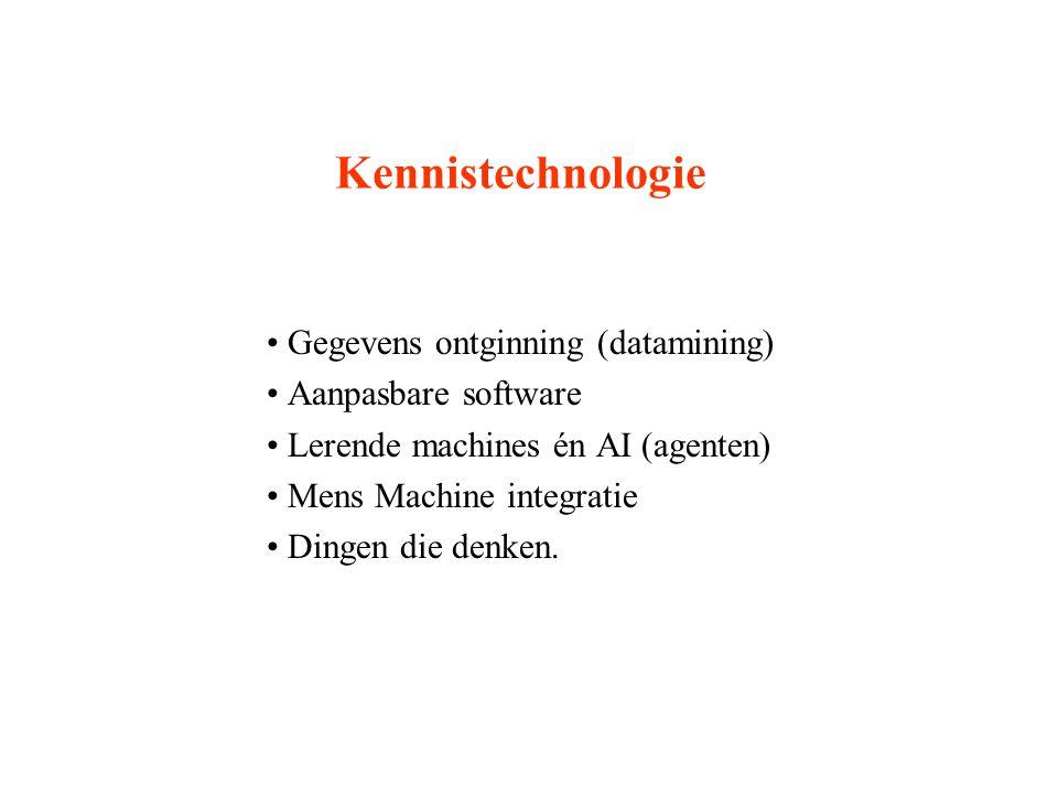 Kennistechnologie Gegevens ontginning (datamining) Aanpasbare software Lerende machines én AI (agenten) Mens Machine integratie Dingen die denken.