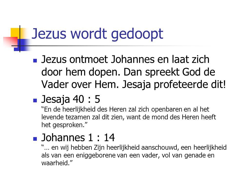 """Jezus wordt gedoopt Jezus ontmoet Johannes en laat zich door hem dopen. Dan spreekt God de Vader over Hem. Jesaja profeteerde dit! Jesaja 40 : 5 """"En d"""