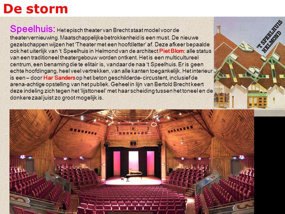 De storm Speelhuis: Het episch theater van Brecht staat model voor de theatervernieuwing. Maatschappelijke betrokkenheid is een must. De nieuwe gezels