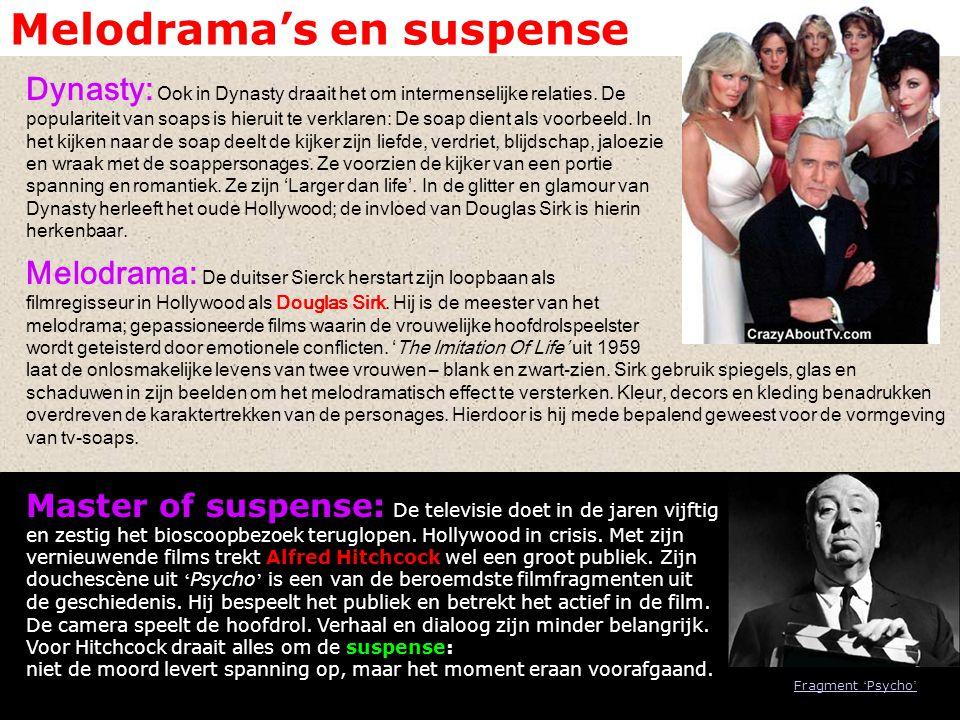 Melodrama's en suspense Dynasty: Ook in Dynasty draait het om intermenselijke relaties. De populariteit van soaps is hieruit te verklaren: De soap die