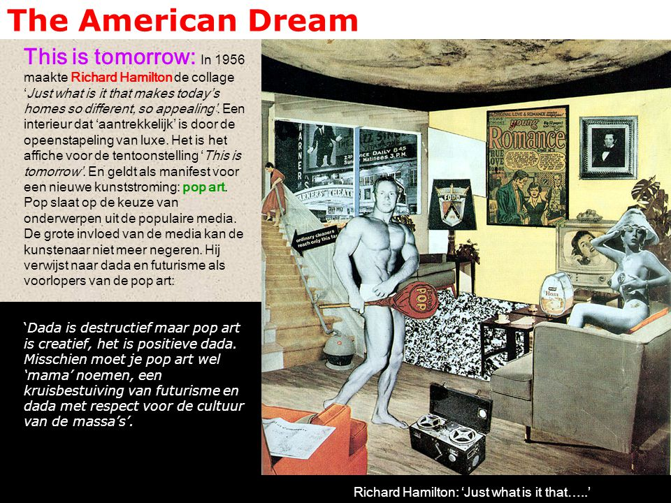 The American Dream This is tomorrow: In 1956 maakte Richard Hamilton de collage 'Just what is it that makes today's homes so different, so appealing'.