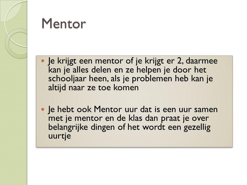 Mentor Je krijgt een mentor of je krijgt er 2, daarmee kan je alles delen en ze helpen je door het schooljaar heen, als je problemen heb kan je altijd