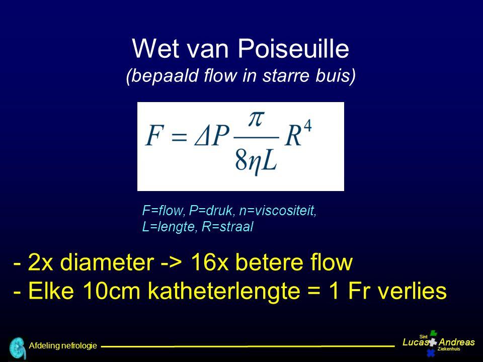 Afdeling nefrologie LucasAndreas Sint Ziekenhuis Wet van Poiseuille (bepaald flow in starre buis) F=flow, P=druk, n=viscositeit, L=lengte, R=straal -