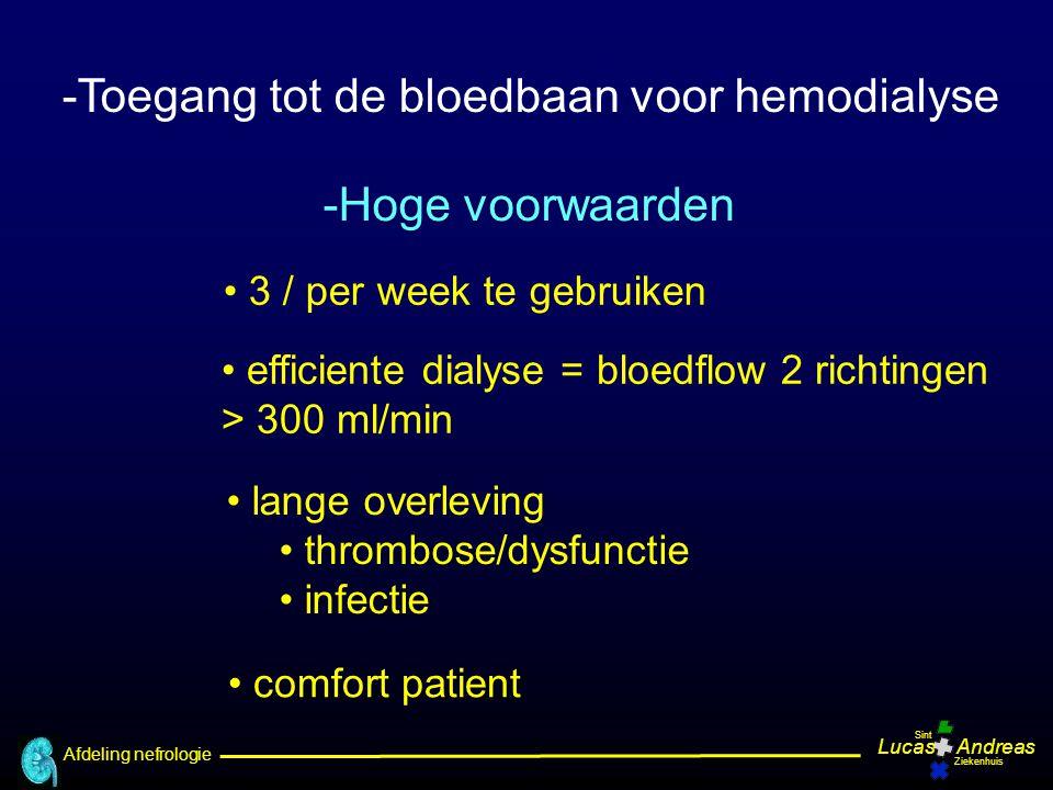 Afdeling nefrologie LucasAndreas Sint Ziekenhuis -Toegang tot de bloedbaan voor hemodialyse -Hoge voorwaarden 3 / per week te gebruiken efficiente dia