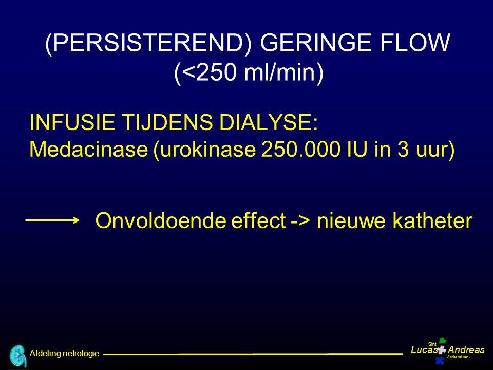 Afdeling nefrologie LucasAndreas Sint Ziekenhuis (PERSISTEREND) GERINGE FLOW (<250 ml/min) INFUSIE TIJDENS DIALYSE: Medacinase (urokinase 250.000 IU i