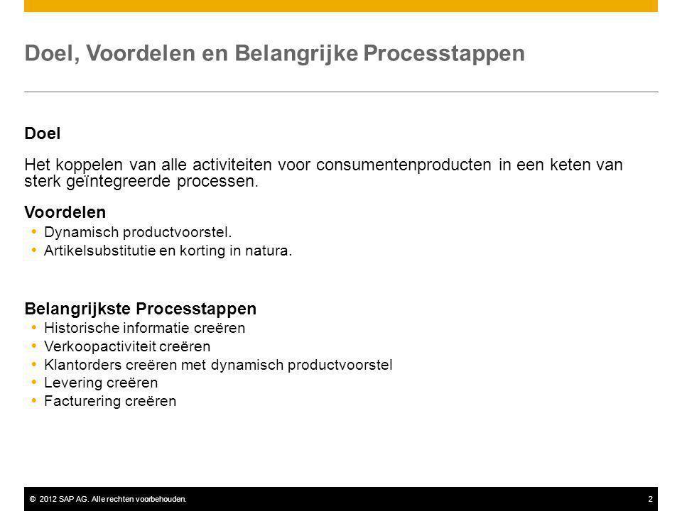 ©2012 SAP AG. Alle rechten voorbehouden.2 Doel, Voordelen en Belangrijke Processtappen Doel Het koppelen van alle activiteiten voor consumentenproduct