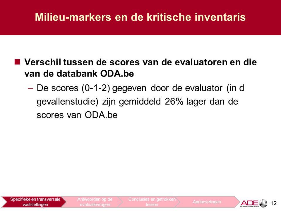 12 Milieu-markers en de kritische inventaris Verschil tussen de scores van de evaluatoren en die van de databank ODA.be –De scores (0-1-2) gegeven door de evaluator (in d gevallenstudie) zijn gemiddeld 26% lager dan de scores van ODA.be Specifieke en transversale vaststellingen Antwoorden op de evaluatievragen Conclusies en getrokken lessen Aanbevelingen