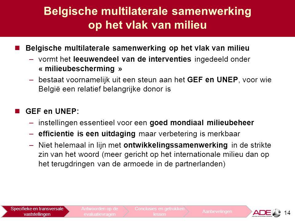 14 Belgische multilaterale samenwerking op het vlak van milieu –vormt het leeuwendeel van de interventies ingedeeld onder « milieubescherming » –bestaat voornamelijk uit een steun aan het GEF en UNEP, voor wie België een relatief belangrijke donor is GEF en UNEP: –instellingen essentieel voor een goed mondiaal milieubeheer –efficientie is een uitdaging maar verbetering is merkbaar –Niet helemaal in lijn met ontwikkelingssamenwerking in de strikte zin van het woord (meer gericht op het internationale milieu dan op het terugdringen van de armoede in de partnerlanden) Specifieke en transversale vaststellingen Antwoorden op de evaluatievragen Conclusies en getrokken lessen Aanbevelingen