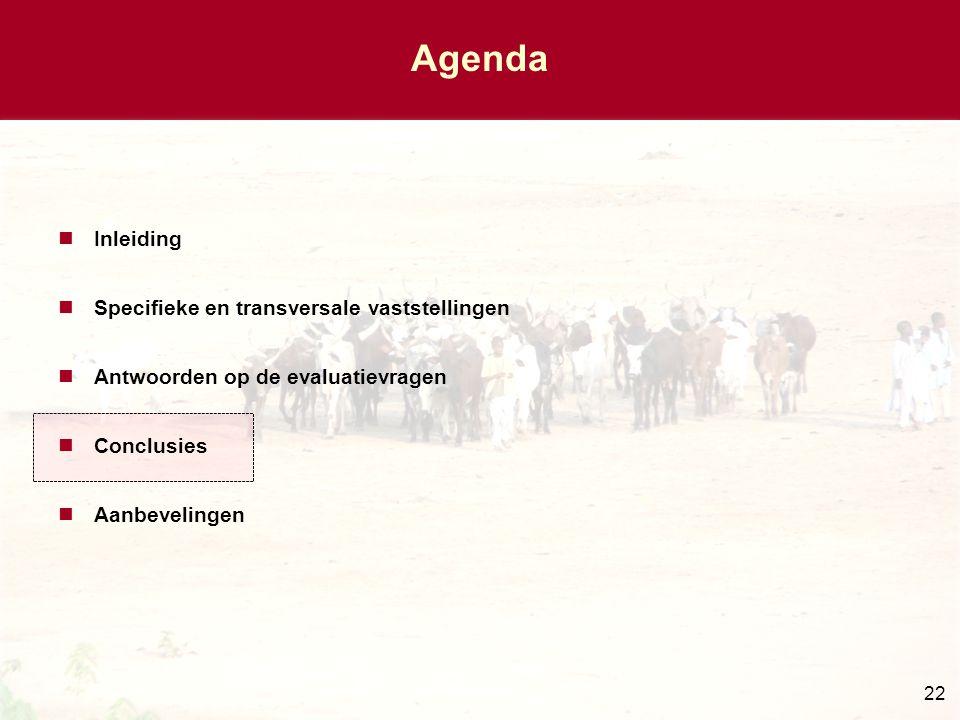 22 Agenda Inleiding Specifieke en transversale vaststellingen Antwoorden op de evaluatievragen Conclusies Aanbevelingen