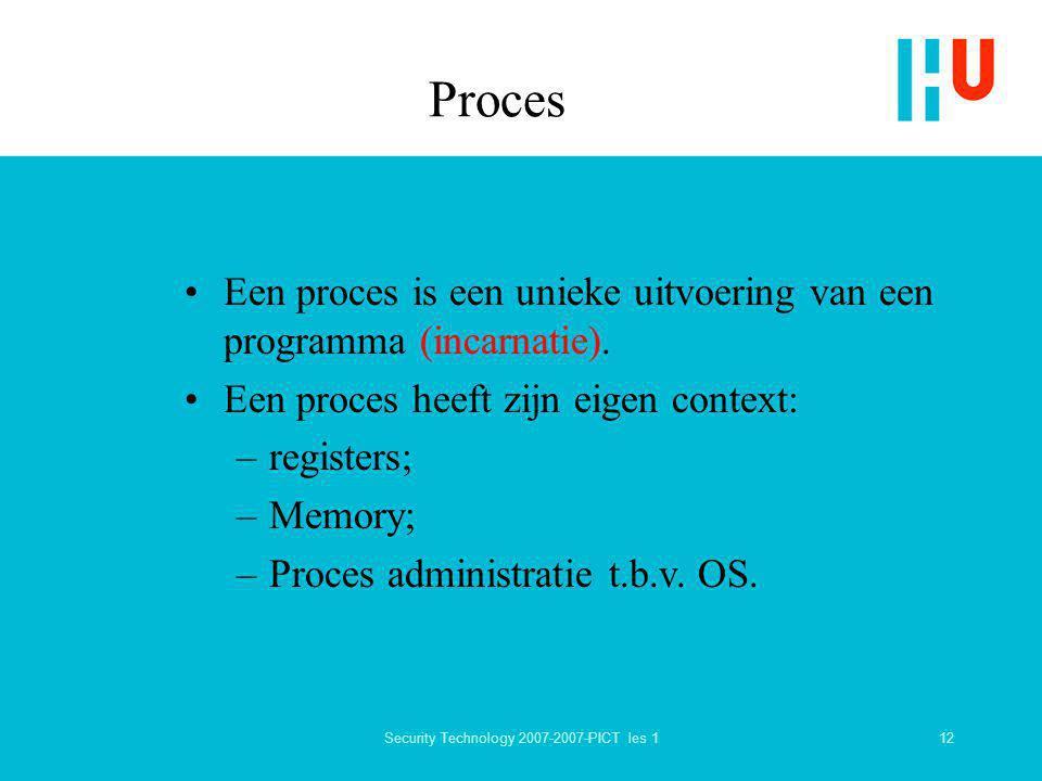 12Security Technology 2007-2007-PICT les 1 Proces Een proces is een unieke uitvoering van een programma (incarnatie). Een proces heeft zijn eigen cont