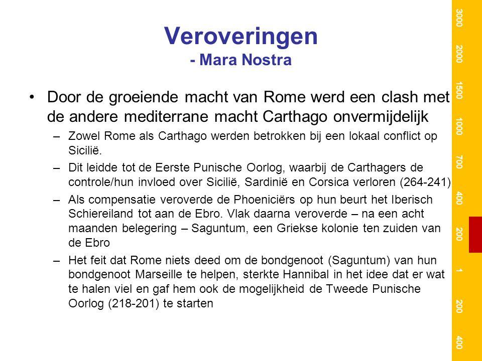 Veroveringen - Mara Nostra Door de groeiende macht van Rome werd een clash met de andere mediterrane macht Carthago onvermijdelijk –Zowel Rome als Carthago werden betrokken bij een lokaal conflict op Sicilië.