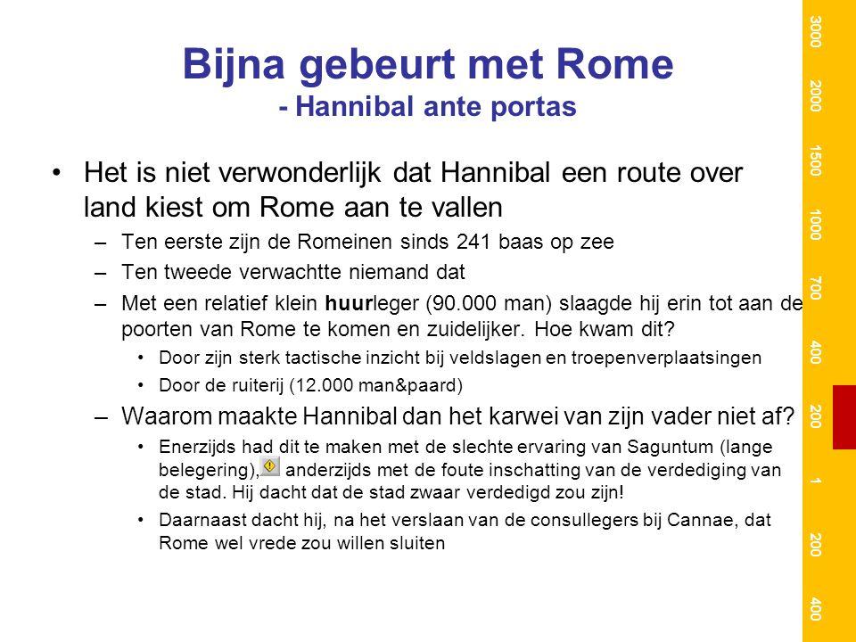 Bijna gebeurt met Rome - Hannibal ante portas Het is niet verwonderlijk dat Hannibal een route over land kiest om Rome aan te vallen –Ten eerste zijn de Romeinen sinds 241 baas op zee –Ten tweede verwachtte niemand dat –Met een relatief klein huurleger (90.000 man) slaagde hij erin tot aan de poorten van Rome te komen en zuidelijker.