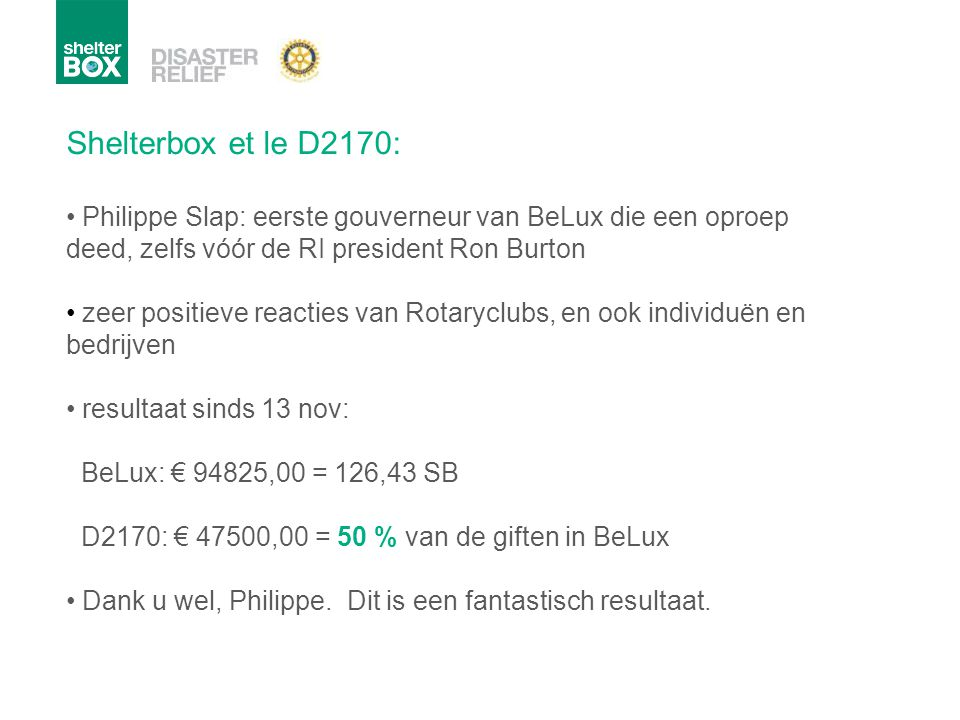 Shelterbox et le D2170: Philippe Slap: eerste gouverneur van BeLux die een oproep deed, zelfs vóór de RI president Ron Burton zeer positieve reacties