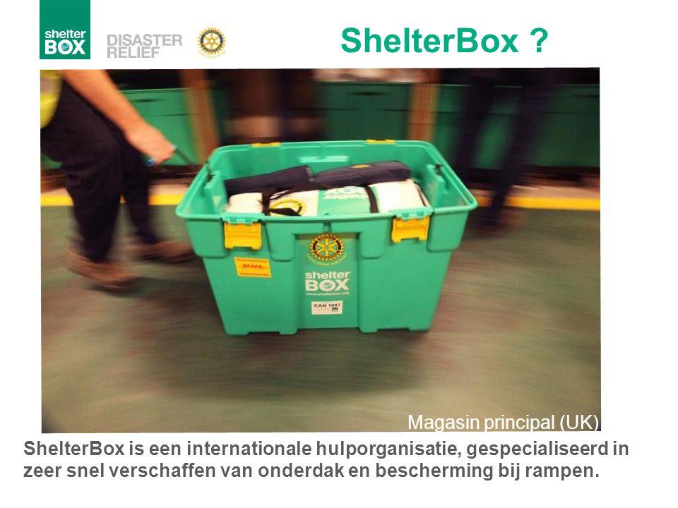 ShelterBox is een internationale hulporganisatie, gespecialiseerd in zeer snel verschaffen van onderdak en bescherming bij rampen. ShelterBox ? Magasi