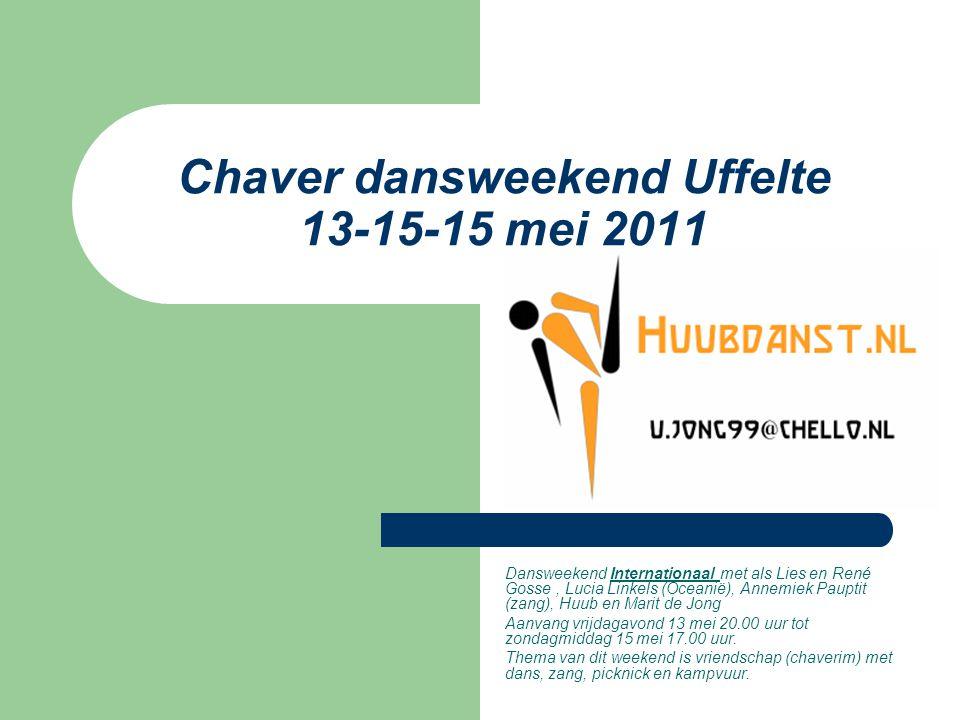 Chaver dansweekend Uffelte 13-15-15 mei 2011 Dansweekend Internationaal met als Lies en René Gosse, Lucia Linkels (Oceanië), Annemiek Pauptit (zang),