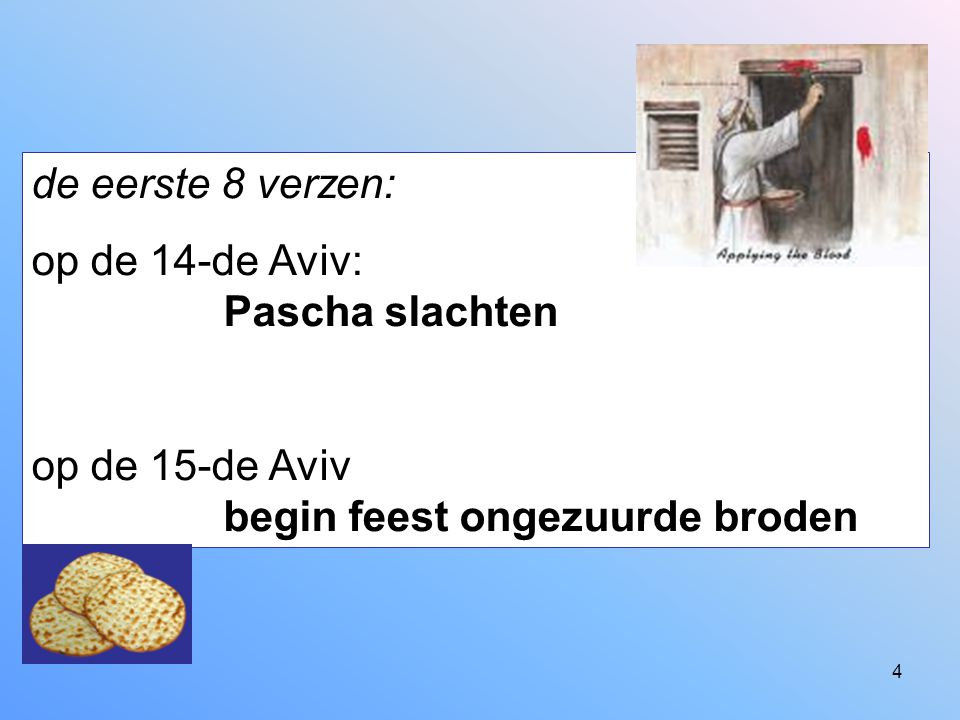 4 de eerste 8 verzen: op de 14-de Aviv: Pascha slachten op de 15-de Aviv begin feest ongezuurde broden
