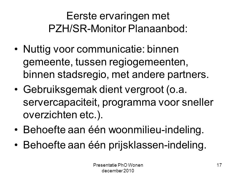 Presentatie PhO Wonen december 2010 17 Eerste ervaringen met PZH/SR-Monitor Planaanbod: Nuttig voor communicatie: binnen gemeente, tussen regiogemeenten, binnen stadsregio, met andere partners.