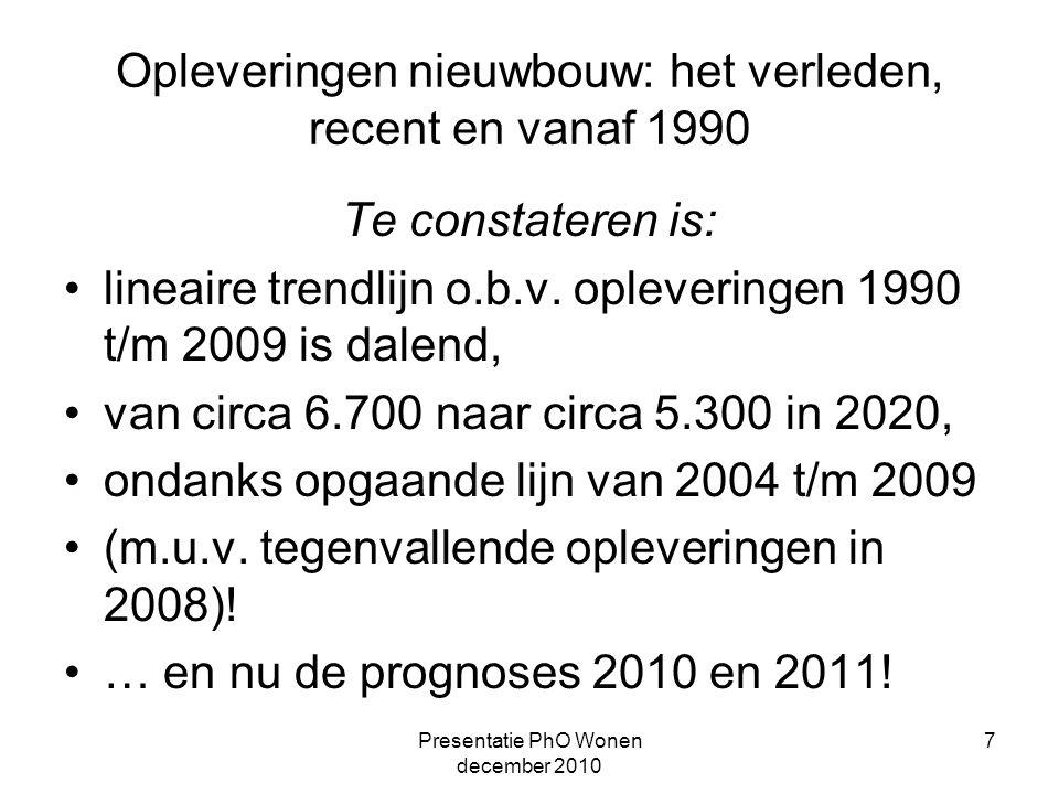 Presentatie PhO Wonen december 2010 7 Opleveringen nieuwbouw: het verleden, recent en vanaf 1990 Te constateren is: lineaire trendlijn o.b.v.