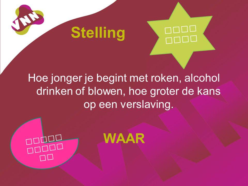 Stelling Hoe jonger je begint met roken, alcohol drinken of blowen, hoe groter de kans op een verslaving.