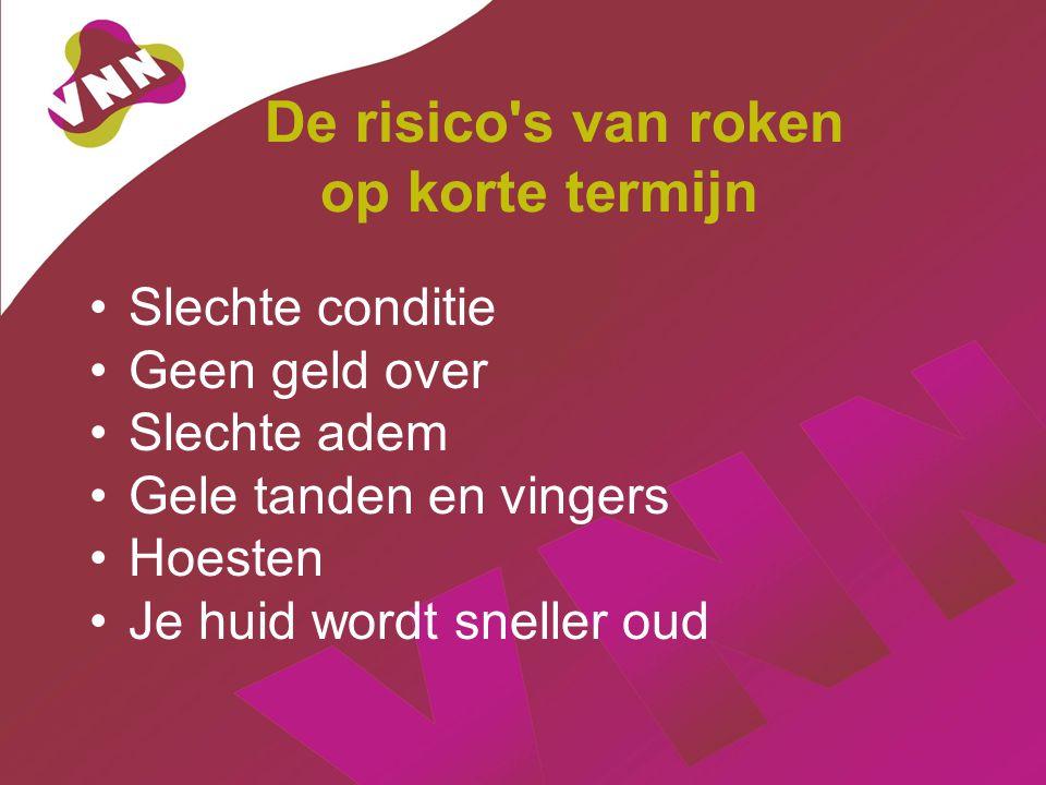 De risico s van roken op korte termijn Slechte conditie Geen geld over Slechte adem Gele tanden en vingers Hoesten Je huid wordt sneller oud