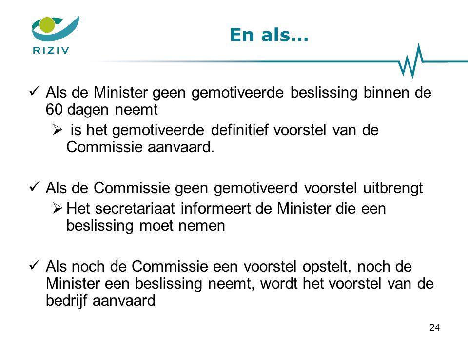 En als… Als de Minister geen gemotiveerde beslissing binnen de 60 dagen neemt  is het gemotiveerde definitief voorstel van de Commissie aanvaard.