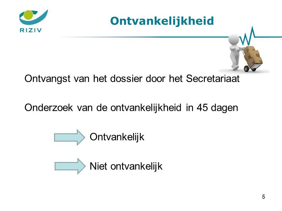 Ontvankelijkheid Ontvangst van het dossier door het Secretariaat Onderzoek van de ontvankelijkheid in 45 dagen Ontvankelijk Niet ontvankelijk 5