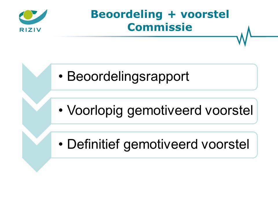Beoordeling + voorstel Commissie BeoordelingsrapportVoorlopig gemotiveerd voorstelDefinitief gemotiveerd voorstel