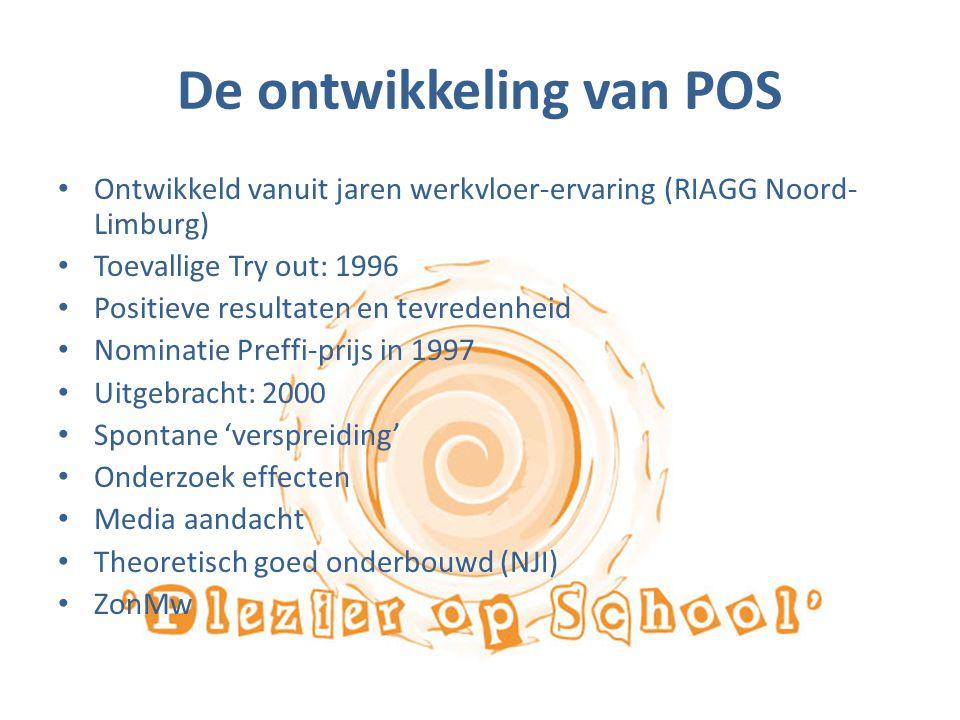 De ontwikkeling van POS Ontwikkeld vanuit jaren werkvloer-ervaring (RIAGG Noord- Limburg) Toevallige Try out: 1996 Positieve resultaten en tevredenhei