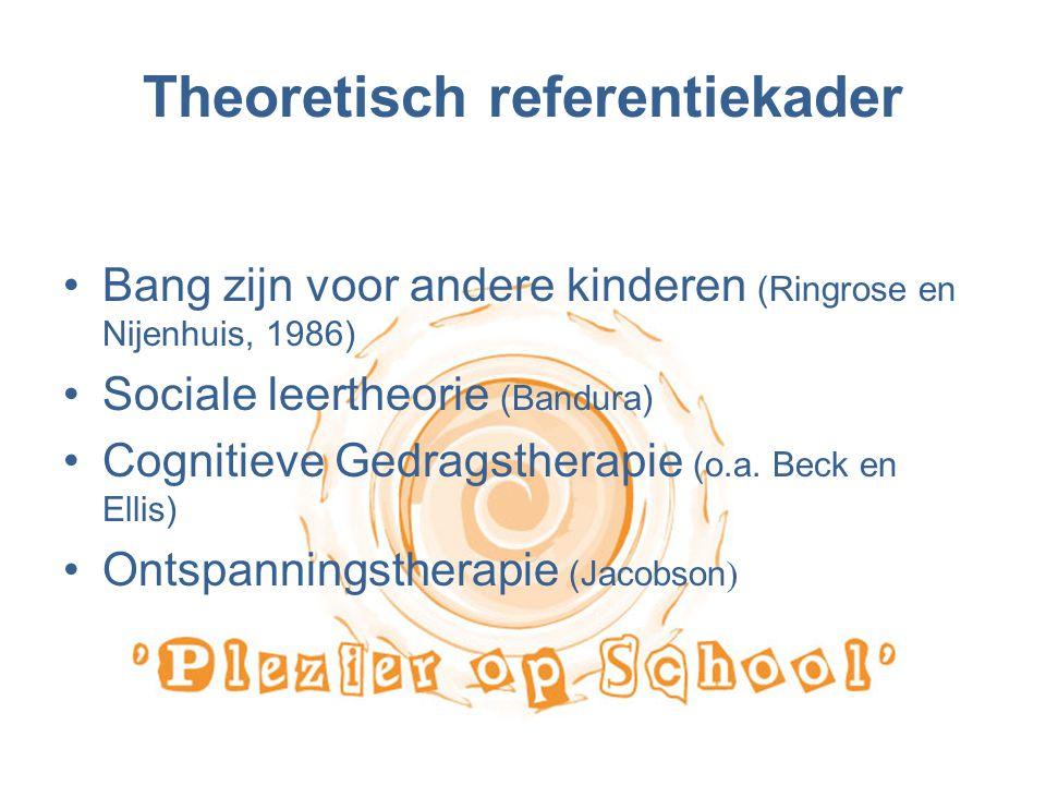 Theoretisch referentiekader Bang zijn voor andere kinderen (Ringrose en Nijenhuis, 1986) Sociale leertheorie (Bandura) Cognitieve Gedragstherapie (o.a