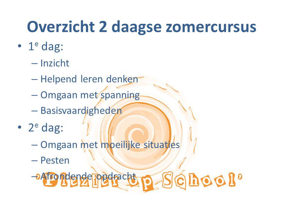 Overzicht 2 daagse zomercursus 1 e dag: – Inzicht – Helpend leren denken – Omgaan met spanning – Basisvaardigheden 2 e dag: – Omgaan met moeilijke sit