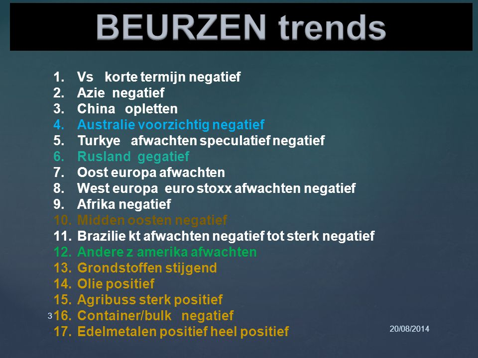 20/08/2014 3 1.Vs korte termijn negatief 2.Azie negatief 3.China opletten 4.Australie voorzichtig negatief 5.Turkye afwachten speculatief negatief 6.R